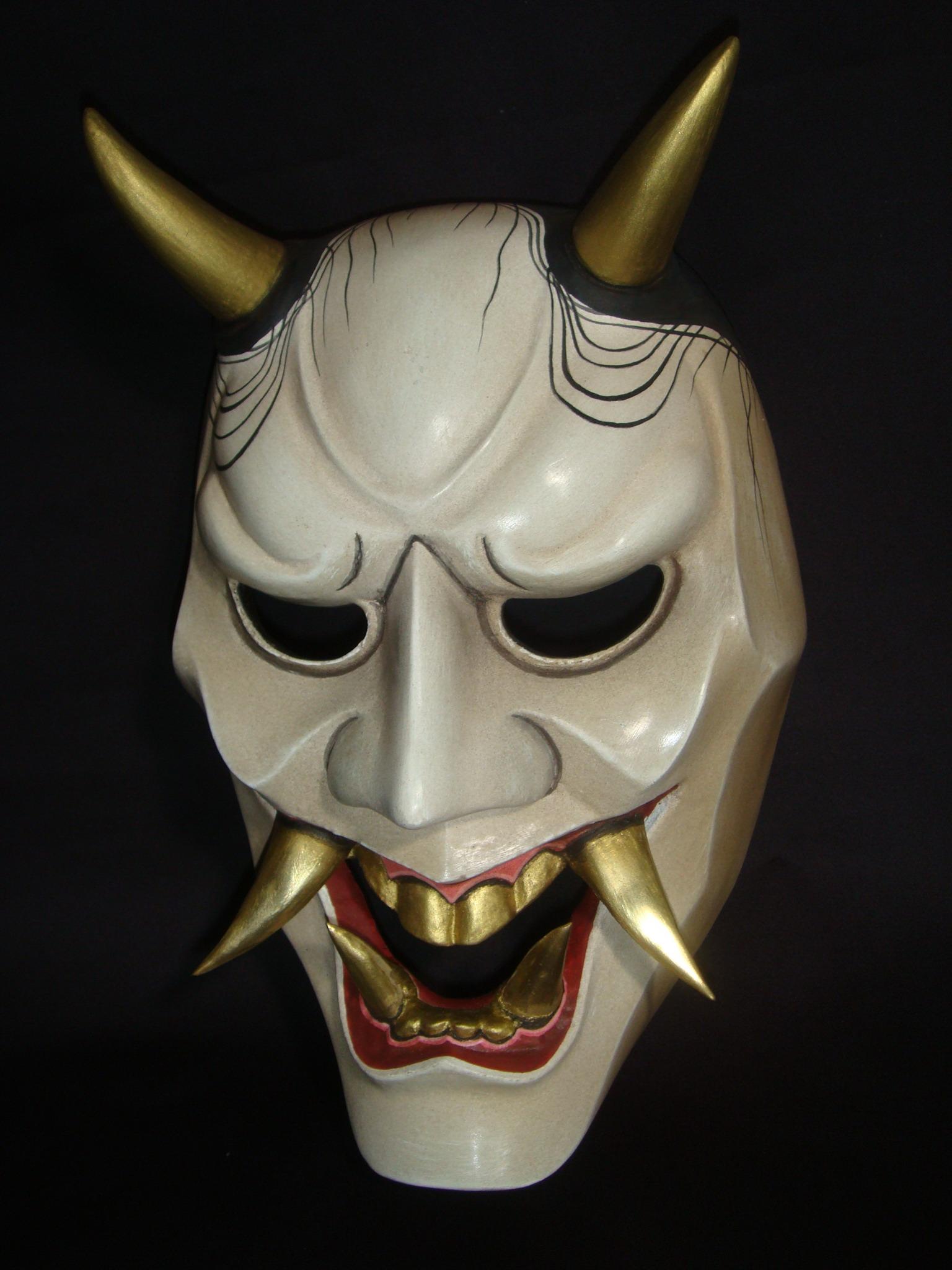 イラスト お面 イラスト : Japanese Hannya Samurai Masks